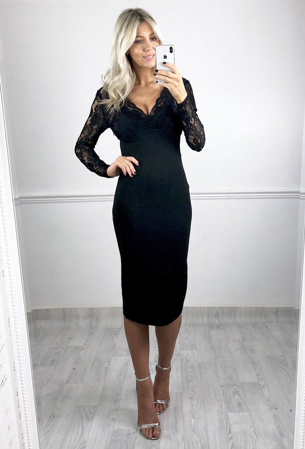 Marissa Black Lace Midi Dress