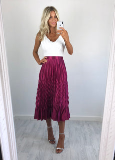Bonnie Metallic Pleat Skirt - Fuschia Pink