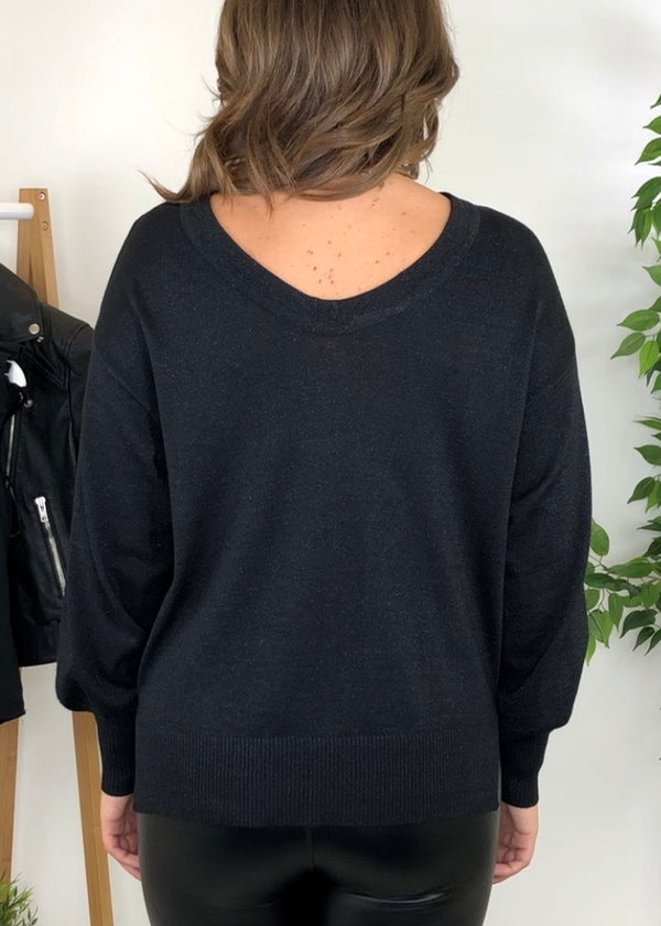 Kallie Round Neck Reversible Jumper - Black