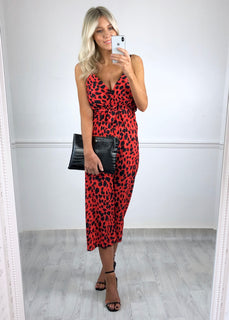 Roz Leopard Print Jumpsuit - Red