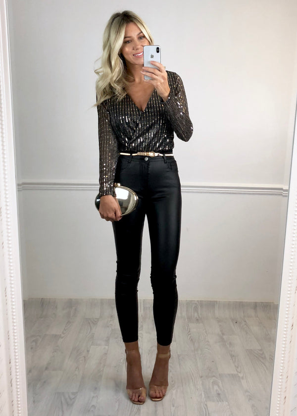 Courtney Mirrored Sequin Bodysuit - Grey