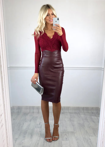 Brooke Faux Leather Pencil Skirt - Burgundy