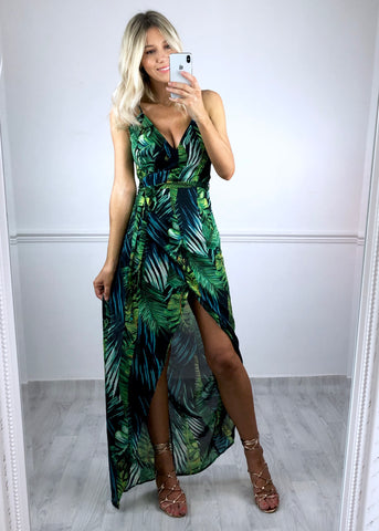 Layla Wrap Maxi Dress - Tropical Print