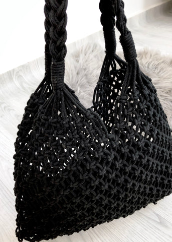 Macrame Shopper - Black