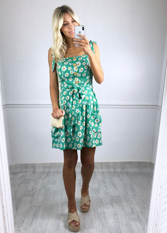 Lourdes Button Down Pinafore Dress - Green
