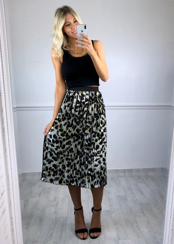 Miranda Pleated Leopard Print skirt - White