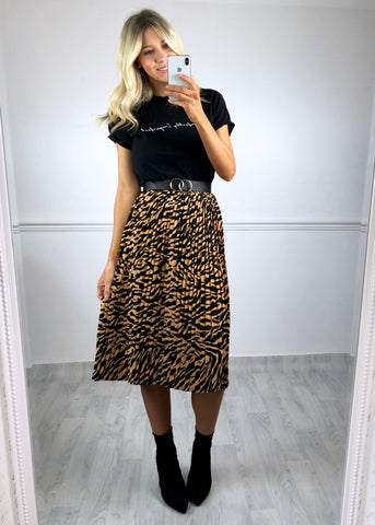 Hattie Pleated Skirt - Zebra Print