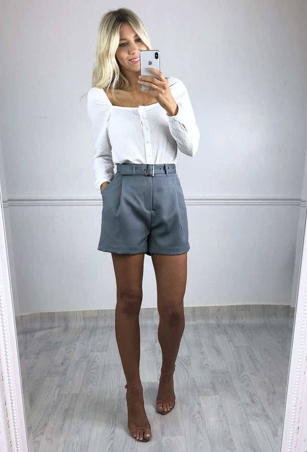 Leondra High Waist Shorts - Blue