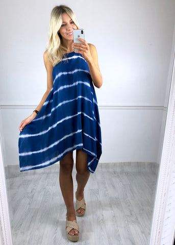 Sierra Navy Tie Dye Hankerchief Dress