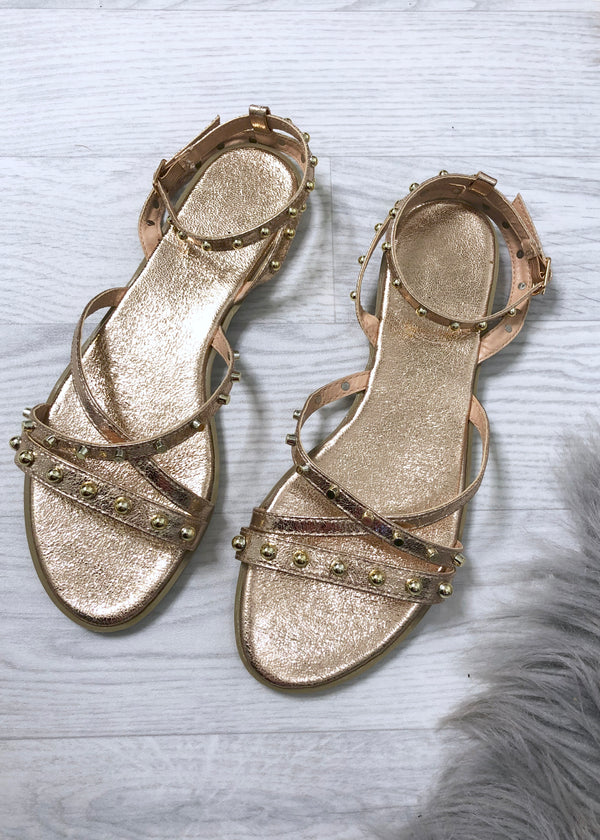 Kinsley Flat Sandals - Rose Gold