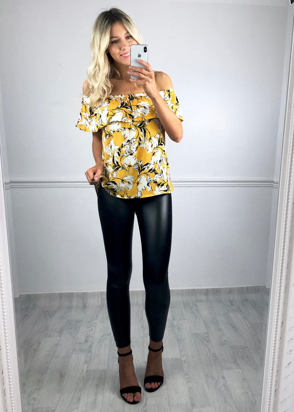 Ivy Bardot Top - Yellow Print