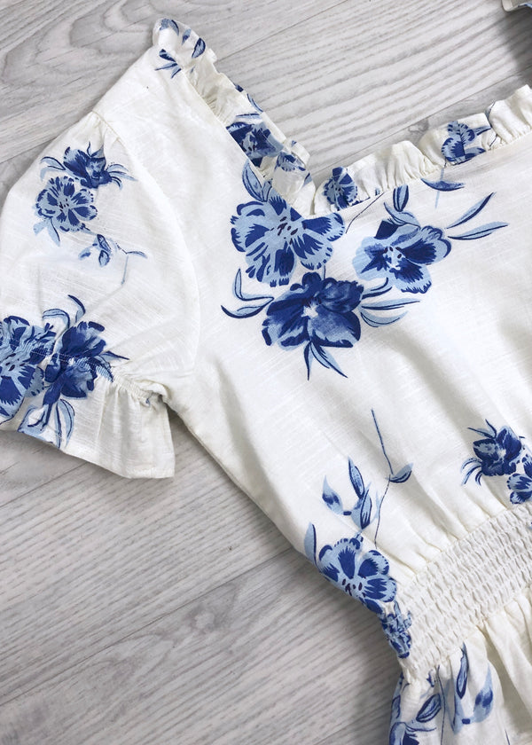 Peyton Floral White and Blue Top
