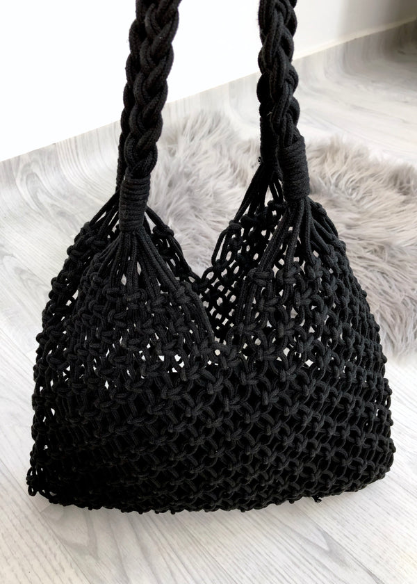 Macrame Shopper Tote Bag - Black