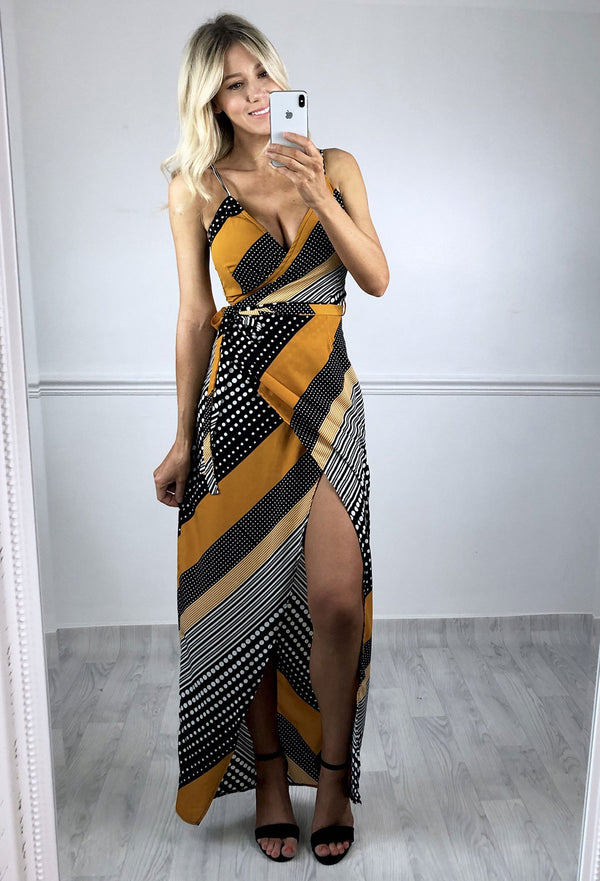 Layla Wrap Maxi Dress - Yellow/Black