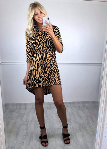 Zara Tiger Print Shirt Dress