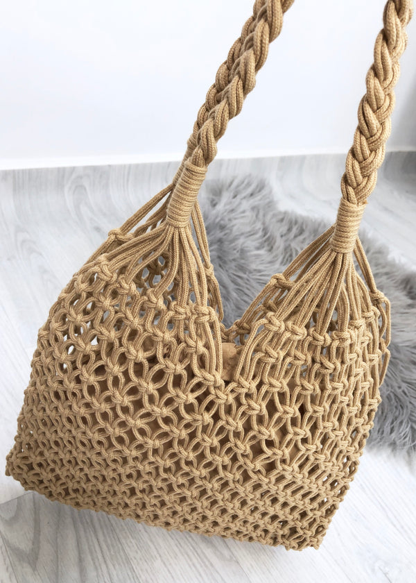 Macrame Shopper - Tan