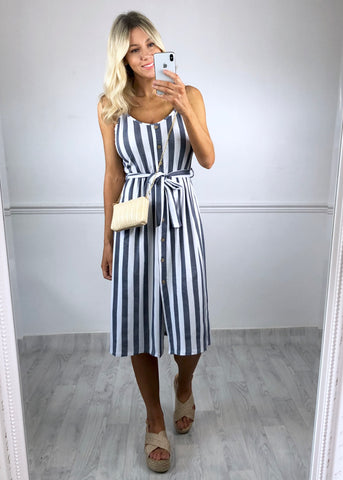 Mel Stripe Button Down Dress