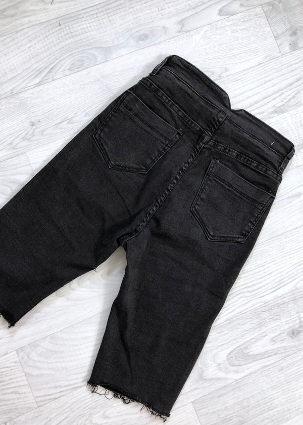 Brit Denim Skinny Shorts - Black wash