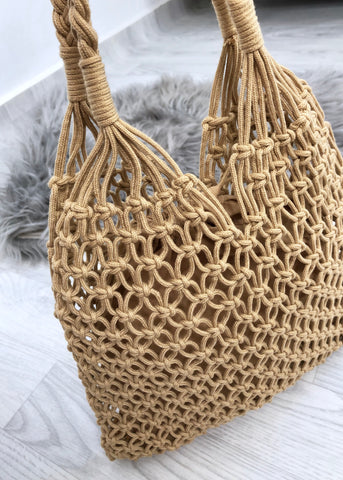 Macrame Shopper Tote Bag - Tan