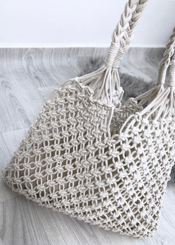 Macrame Shopper - White