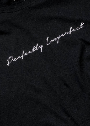 'Perfectly Imperfect' Slogan T-Shirt - Black