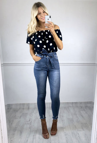 ICHI Navy Spot Bardot Top
