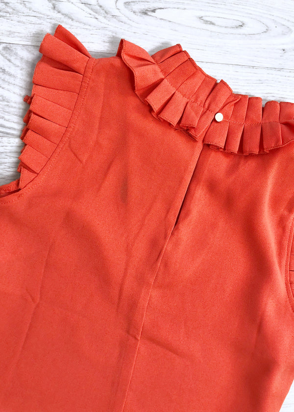 Lillian Pleated Ruffle Trim Blouse - Orange