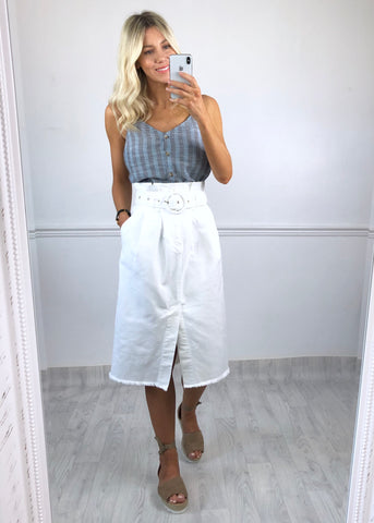 Verona White Denim Skirt