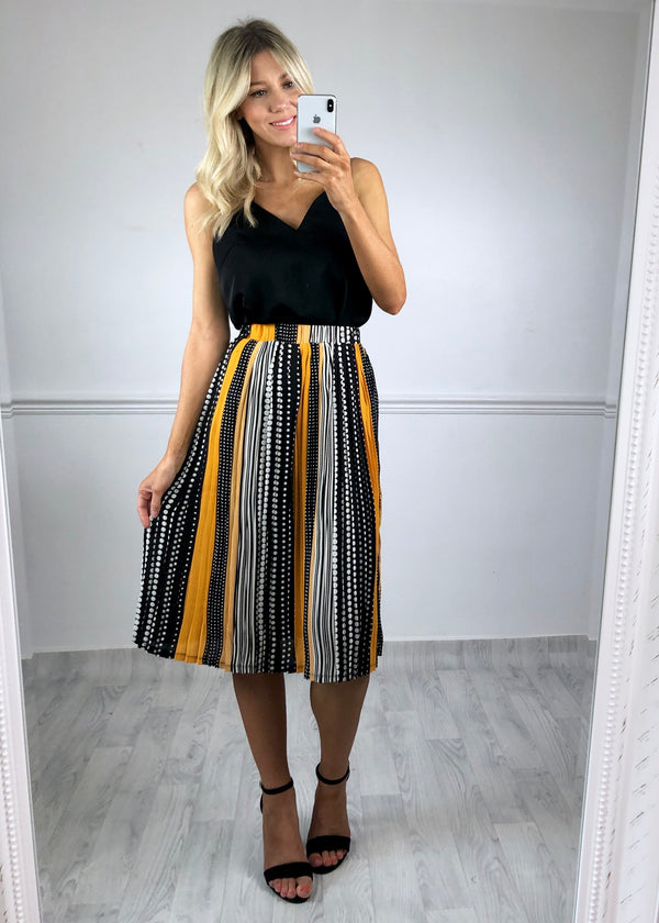 Hattie Pleated Skirt - Yellow Spot print