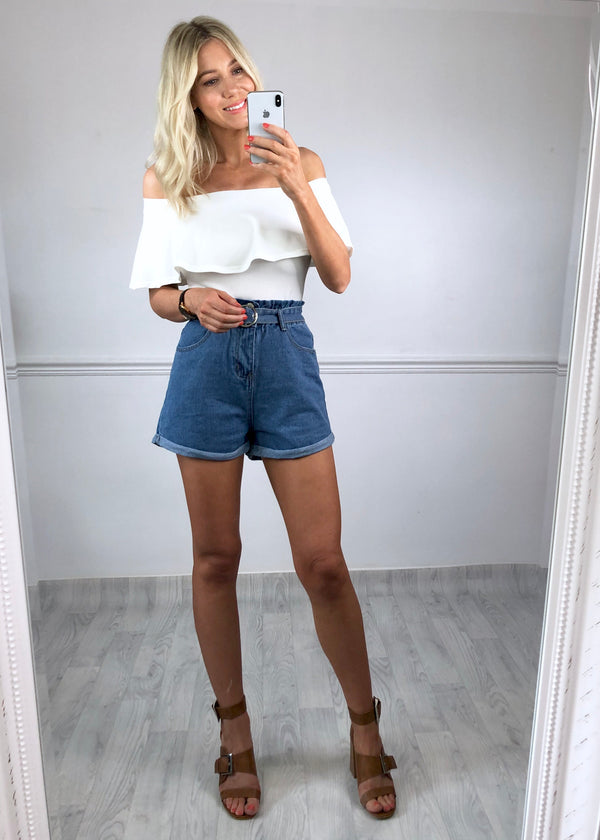 Cleo Paperbag Denim shorts with belt