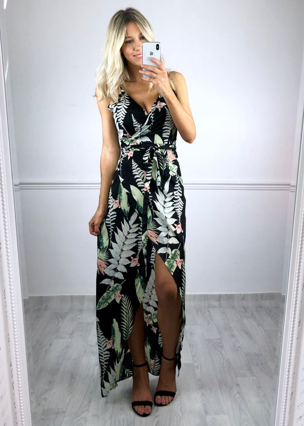 Layla Wrap Maxi Dress - Leaf Print