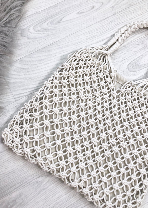 Macrame Shopper Tote Bag- White