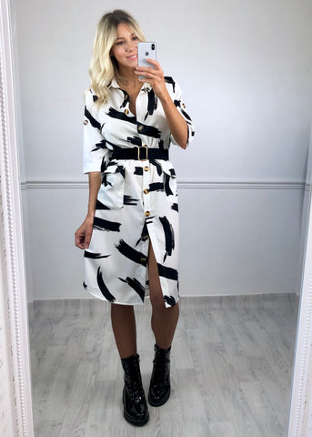 Reagan Abstract Print Shirt Dress