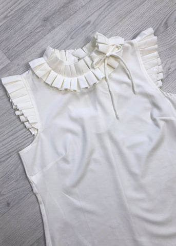 Lillian Pleated Ruffle Trim Blouse - White