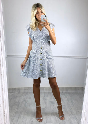 Kerry Heart Print Tea Dress - Blue