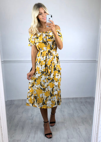 Ichi Marrakech Dress - Yellow Print
