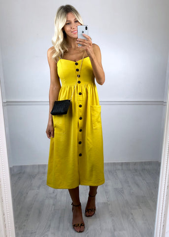 Rowan Button Down Dress - Yellow