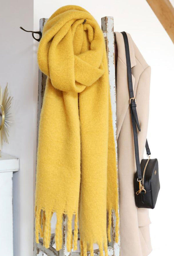 Lisa Angel Recycled Oversized Scarf - Mustard