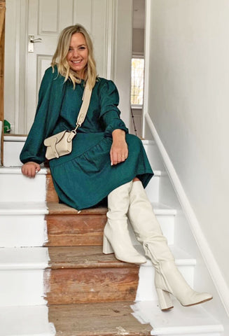 ONLY Long Sleeved Smock Dress - Pine Green