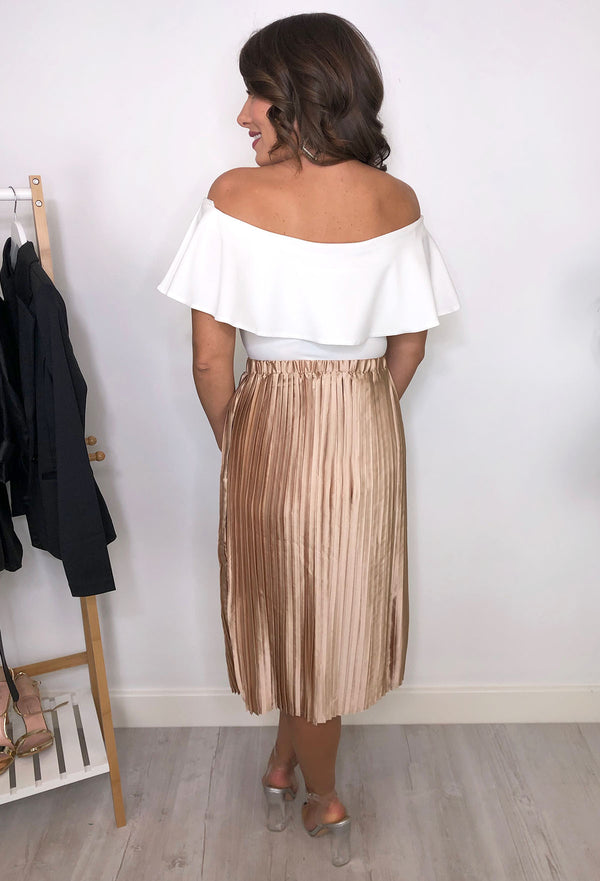 Pippa Pleated Skirt - Rose Gold