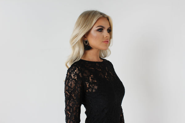 Noir Black Lace Dress - Long