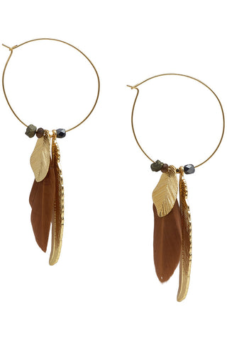 Nümph Gold Feather Earrings
