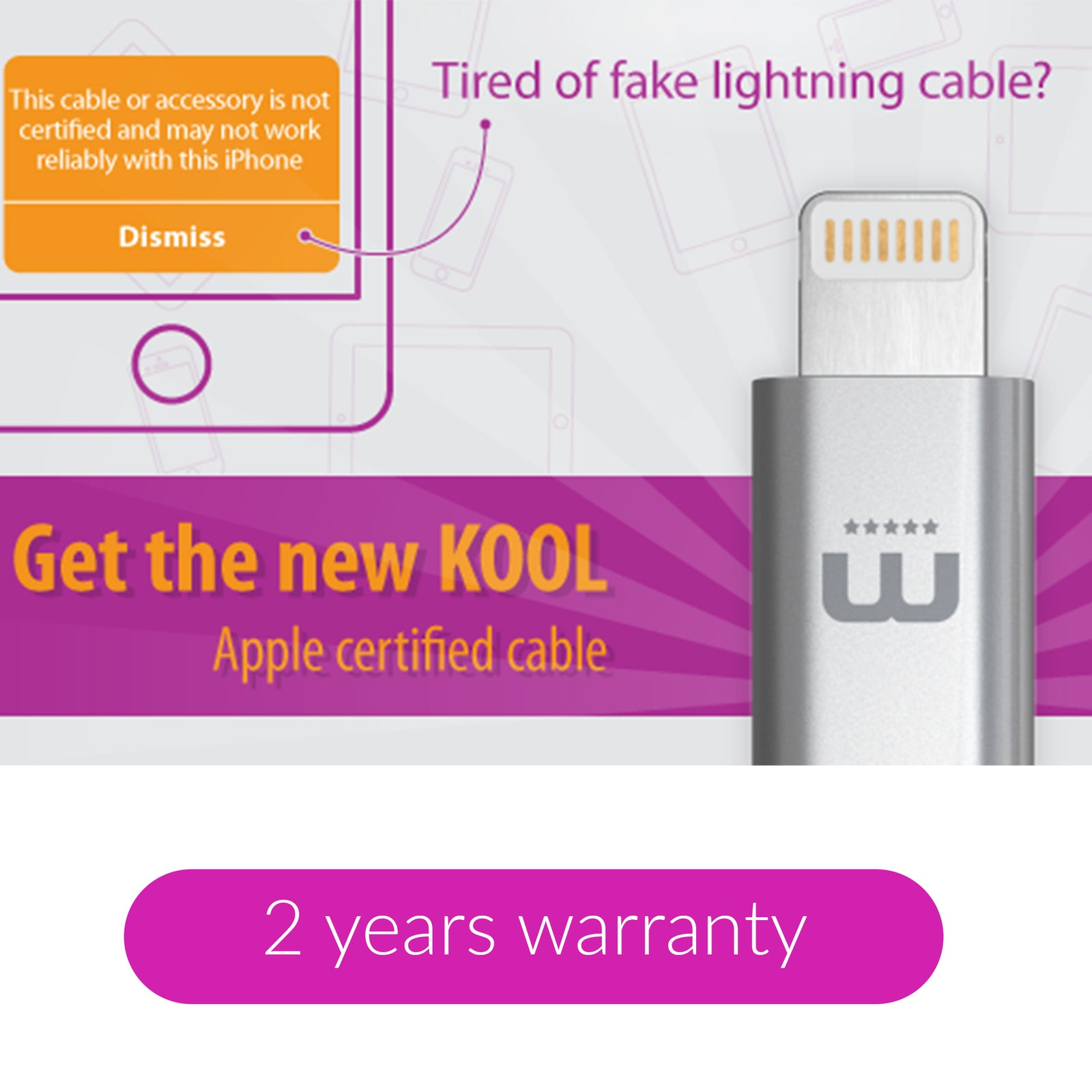 KOOL Apple certified ultra durable cable