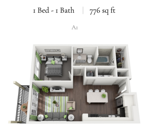 1 Bed - 1 Bath | 776 sq ft | A1
