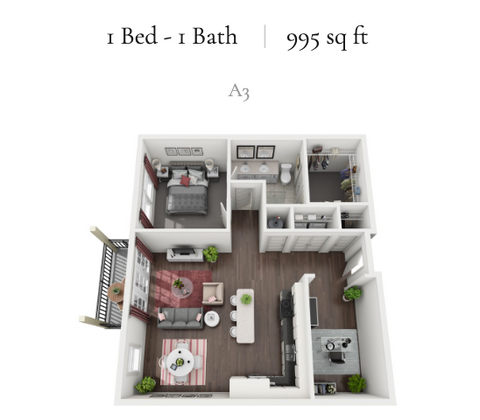 1 Bed - 1 Bath | 995 sq ft | A3
