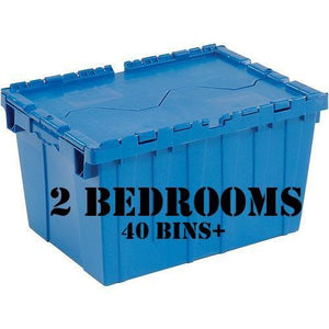 2 Bedrooms - 40 Bins + 2 Dollies + Kitchen Plate & Glassware Inserts + 10 Days + Delivery and Pick-up - bins4moves