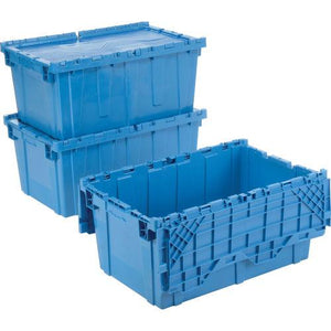3 Blue Moving Bins 2 stacked and 1 with lids open