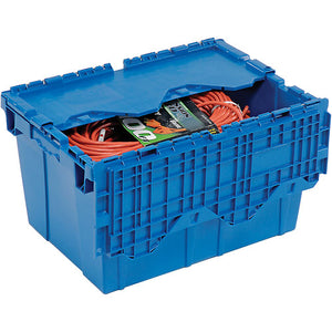 Blue moving BIN with item inside