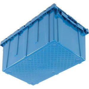 Bottom view of a blue moving bin