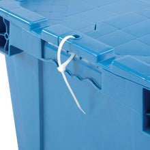 Close up of a cable tie on a blue moving bin